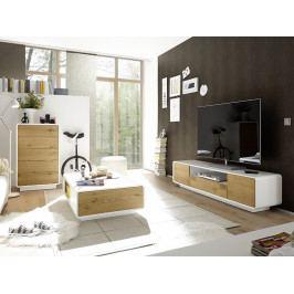 Nábytek do obývacího pokoje TOULON dub sukatý/bílá