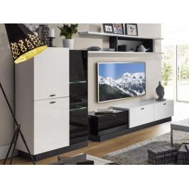 Moderní obývací stěna QUARTZ bílý lesk/černé sklo