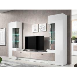 Moderní obývací stěna FOSSIL bílý lesk/beton Colorado