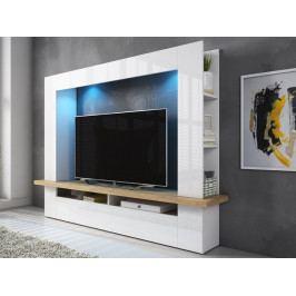 VÝPRODEJ: Obývací stěna LUGO dub Beaufort/bílý lesk