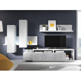 Moderní obývací stěna BOTA bílá/beton Colorado
