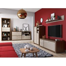 Nábytek do obývacího pokoje RAUM ořech Canyon/pískově šedá-lesk