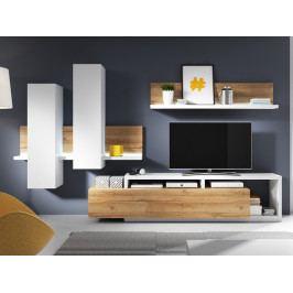Moderní obývací stěna BOTA bílá/dub Grandson