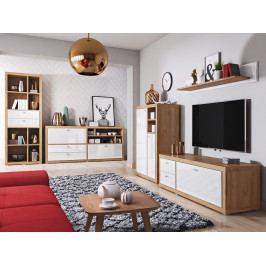 Nábytek do obývacího pokoje RAUM dub Grandson/bílý lesk