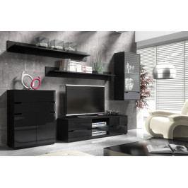 Moderní obývací stěna s LED osvětlením ALASKA 1 černá/černý lesk