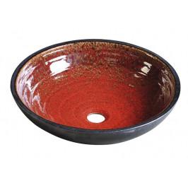 ATTILA keramické umyvadlo, průměr 44cm,  tomatová červeň/petrolejová ( DK007 )