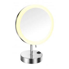 Kosmetické zrcátko s LED osvětlením stojací, kulaté (KZSTOJLEDO)