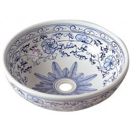 PRIORI keramické umyvadlo, průměr 42cm, bílá s modrým vzorem ( PI012 )