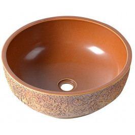 PRIORI keramické umyvadlo, průměr 43cm, červenohnědá ( PI015 )