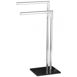 OPTIMA stojan s držákem ručníků, chrom/černé sklo (GLASDRZRUC)