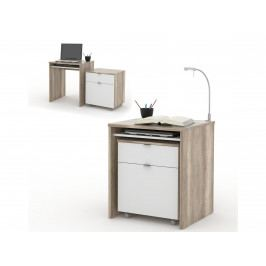 NU počítačový stůl UNO, dub canyon/bílá