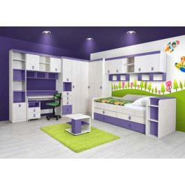 NUMERO dětský pokoj - vzorová sestava, dub bílý/fialová
