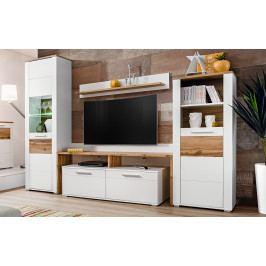 Obývací stěna STENA, bílá/dub wotan