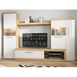 SICILY NEW obývací stěna TYP 100, bílý lesk/dub riviera