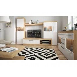 SICILY NEW obývací pokoj, bílý lesk/dub riviera