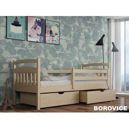 Postel s roštem a úložnými prostory SOLO 80x180 cm, masiv borovice/barva: ...