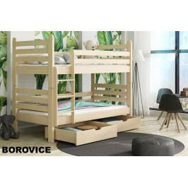 Patrová postel s rošty a úložnými prostory PATRYK 90x190 cm, masiv borovice/barva: ...