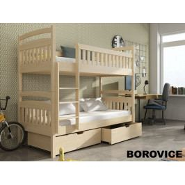 Patrová postel s rošty a úložnými prostory MARTA 90x200 cm, masiv borovice/barva: ...