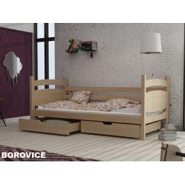 Postel s roštem a úložnými prostory ANDY 90x190 cm, masiv borovice/barva: ...