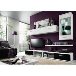 MALLIBU, obývací stěna, bílá/černý lesk