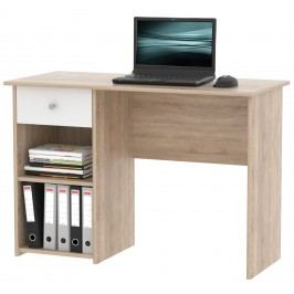 KPraktický psací stůl se zásuvkou KURT, dub sonoma/bílá