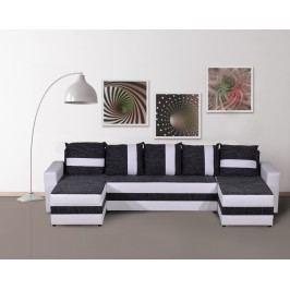 Rohová sedačka FUGAZI, černá/bílá ekokůže