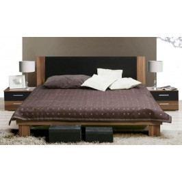 Forte HELEN, postel 180x200 cm s nočními stolky, ořech/černá