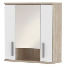 LINDA, skříňka horní LI01 se zrcadlem, dub sonoma/bílý lesk