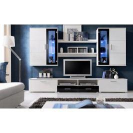 Smartshop ALTOON, obývací stěna, bílá/černý lesk DOPRODEJ