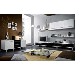 Smartshop Obývací stěna MONICA, bílá/černý lesk