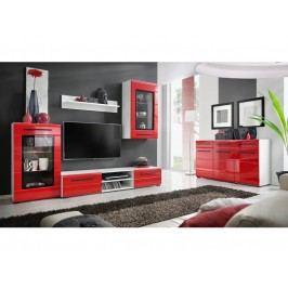 Smartshop Obývací stěna TIMMBER 1, bílá/červený lesk