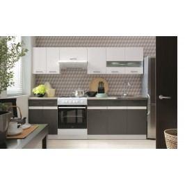 BRW Kuchyň Junona 240  bílý lesk/šedý wolfram