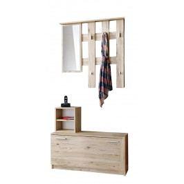 Smartshop Předsíňová stěna RENO (věšák, botník, zrcadlo), dub sanremo