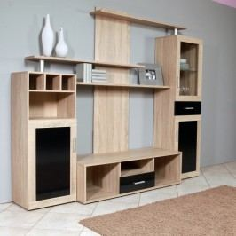 Hicoon, obývací stěna, dub sonoma/černá