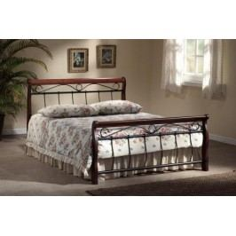 VENECJA, postel 180x200 cm s roštem, masiv/kov, třešeň antická/ černá