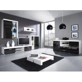 SAMBA C, obývací stěna, bílá/černý lesk