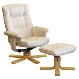 Relaxační masážní křeslo s podnožkou K36, béžové