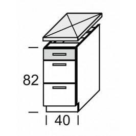 KAMDUO, dolní skříňka DUO DS4/3, dub sonoma/láva