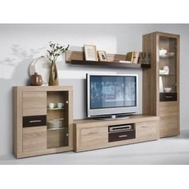 MEZO, obývací stěna, dub sonoma/čokoláda