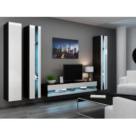 Obývací stěna VIGO NEW 6, černá/bílý lesk