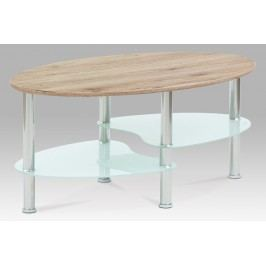 Smartshop Konferenční stolek 90x55x42, san remo / bílé sklo / leštěný nerez, KSCT-1180 SRE