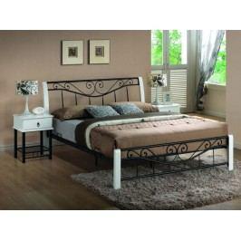 PARMA, postel 160x200 cm, masiv/ kov, bílá/černá