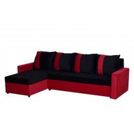 Rohová sedačka TICO, univerzální roh, černá/červená VODĚODOLNÁ LÁTKA