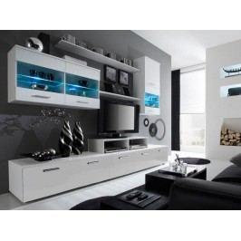 LOGO II, obývací stěna, bílá/bílý lesk