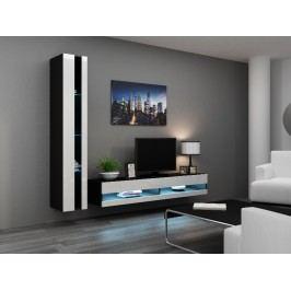 CAMA Obývací stěna VIGO NEW 8, černá/bílý lesk