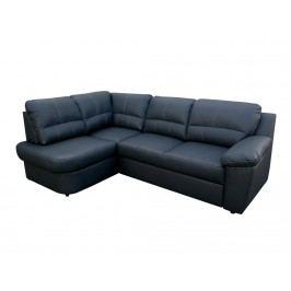 Kožená rohová sedačka AROSA, černá, levá