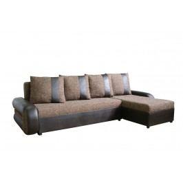 Rohová sedačka TICO II, univerzální roh, látka hnědá/hn. ekokůže