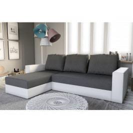 Rohová sedačka ERON NEW, univerzální, šedá látka/bílá ekokůže