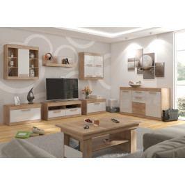 MAXIM obývací pokoj 2, dub sonoma/bílý lesk