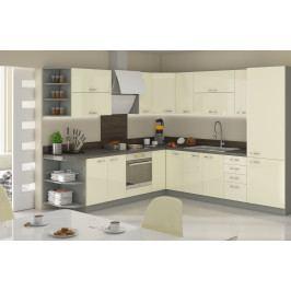 Rohová kuchyně KARMEN 240x270 cm, šedá/ krémový lesk
